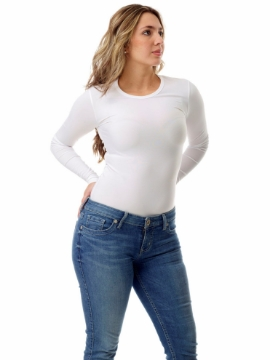 Picture of Womens Microfiber Compression Crew Neck Top Long Sleeve