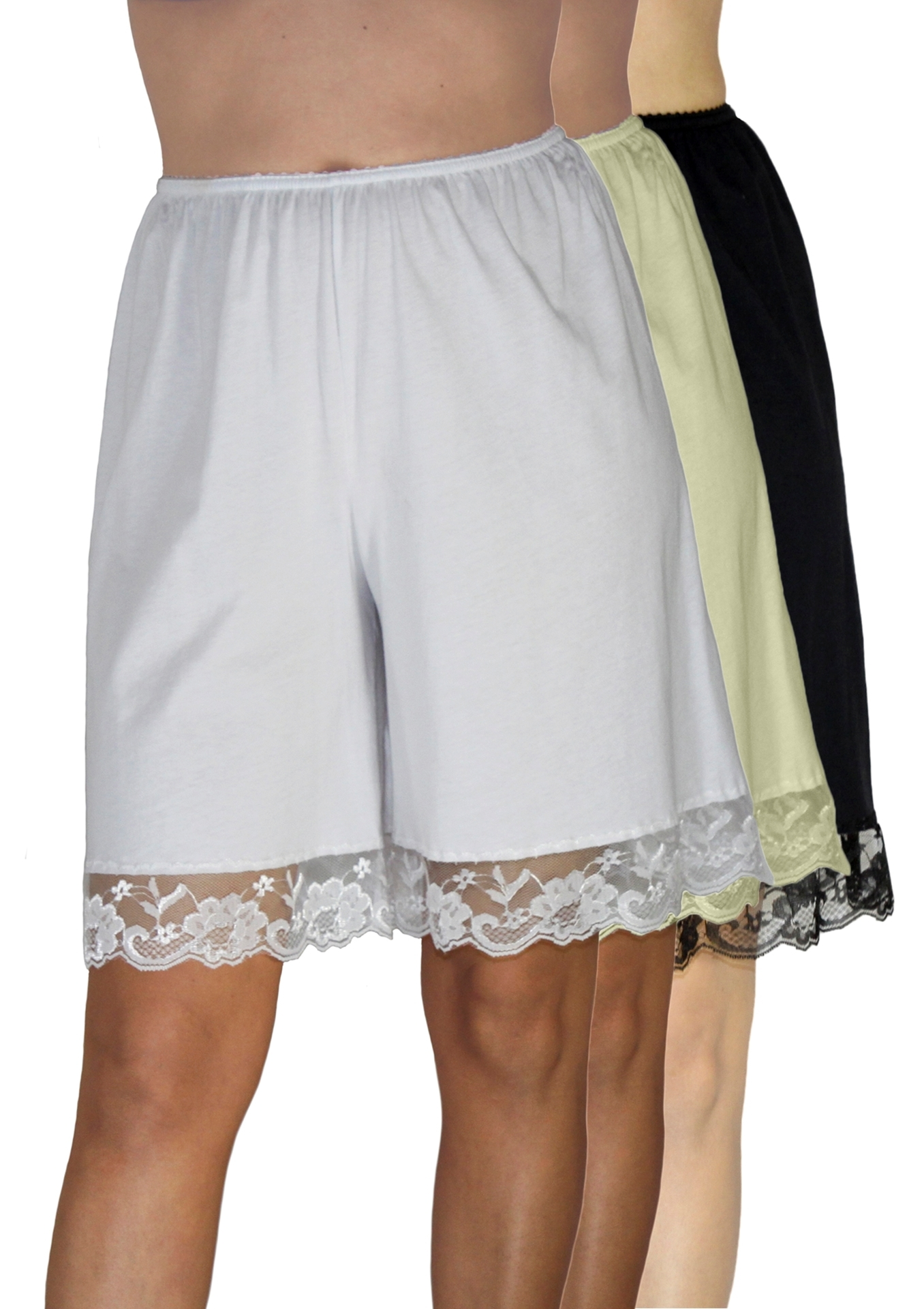 Picture of Pettipants Cotton Knit Culotte Slip Bloomers Split Skirt 9-inch Inseam 3-Pack